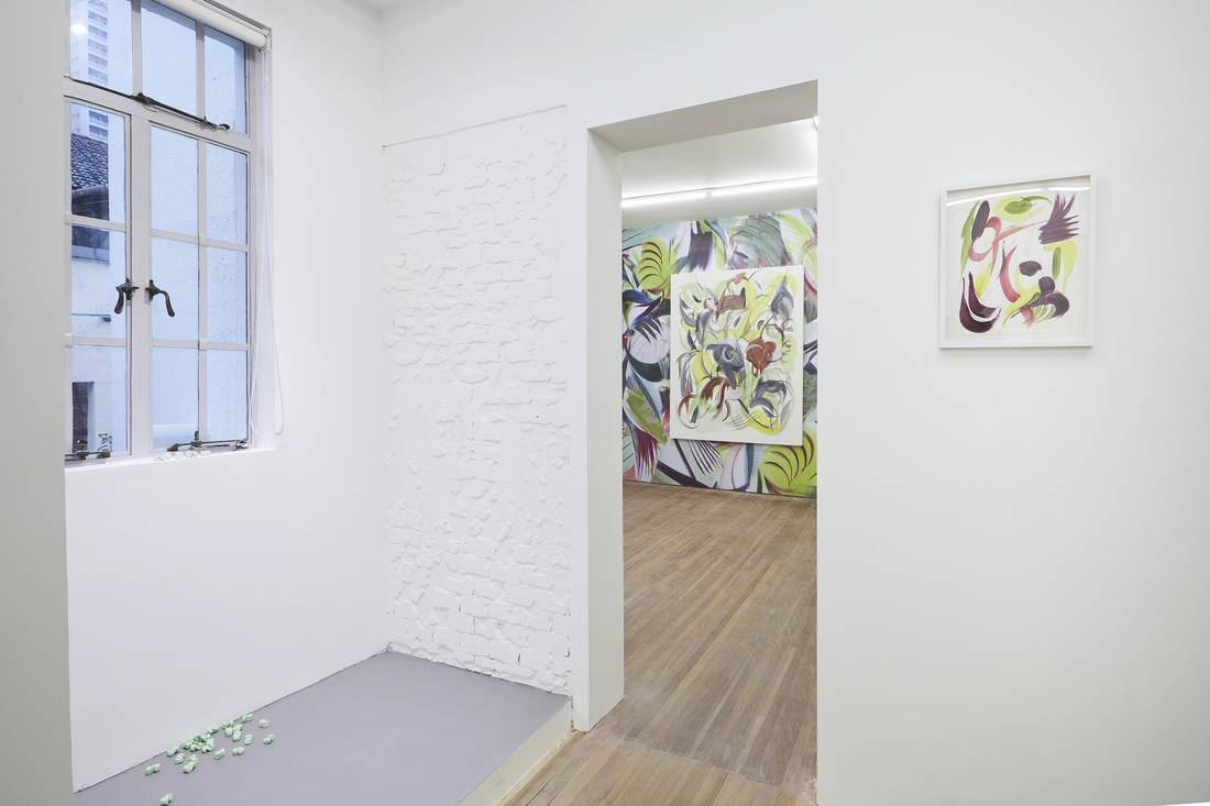 Installation view of works by David Adamo and Huang Yanyan at Gallery Vacancy.