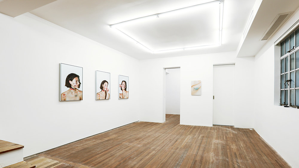 "Installation view of John Yuyi's ""Tinder Match"" series at Gallery Vacancy."