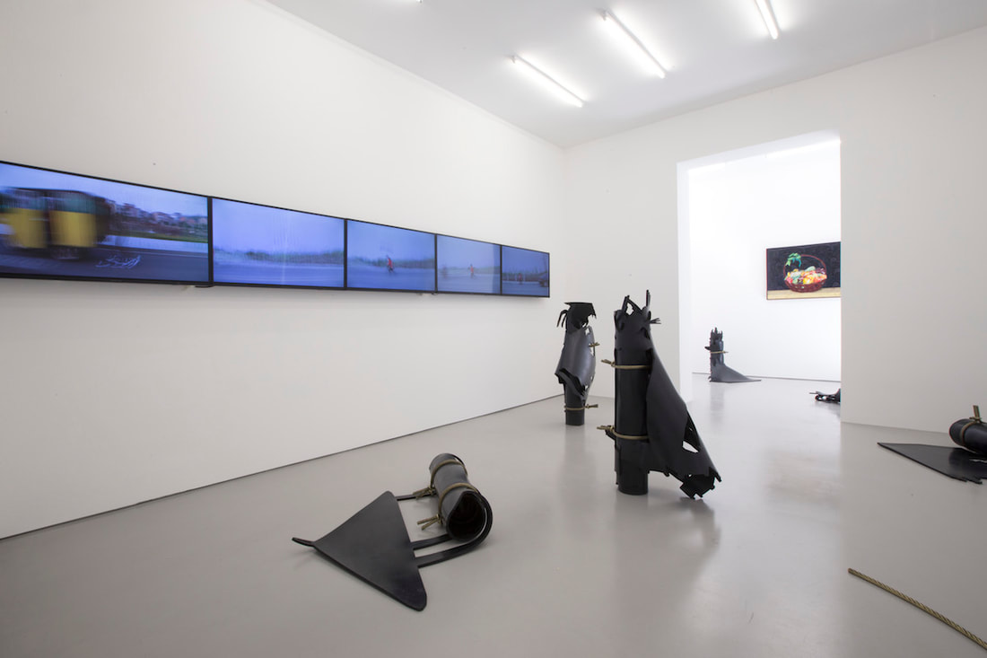 Gallery Vacancy installation view of Chen Fei, Xu Qu, and Li Ming's works in exhibition
